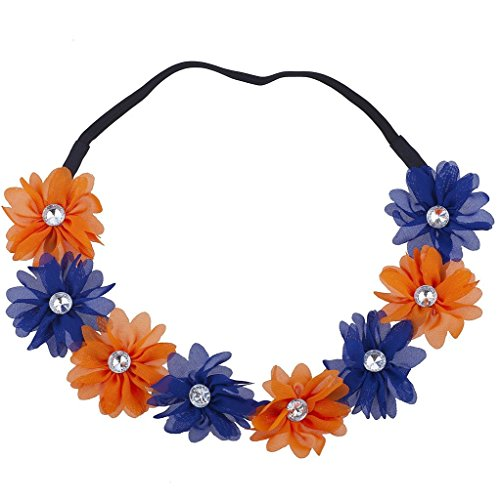 Lux Accessories Florida State College Blue Yellow Chiffon Headband Flower Crown