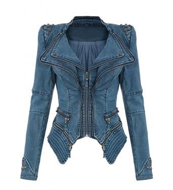 lath pin womens studded punk jeans jacket peak power. Black Bedroom Furniture Sets. Home Design Ideas
