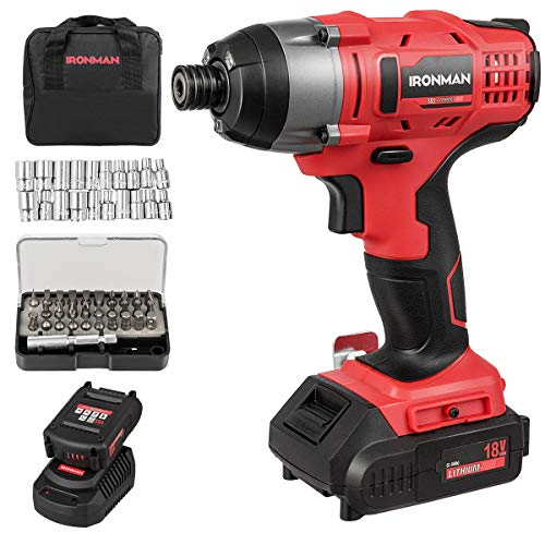 "Goplus Impact Driver Kit, 18V Lithium Ion 1/4"" Hex Cordless Impact Wrench Impact Drill with LED Work Light, 31pcs Screwdriving Set, Variable Speed, Battery and Charger Included"