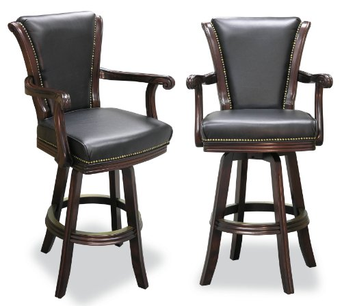 Two Executive Swivel Barstool with Carved Arms (Mahogany) ()