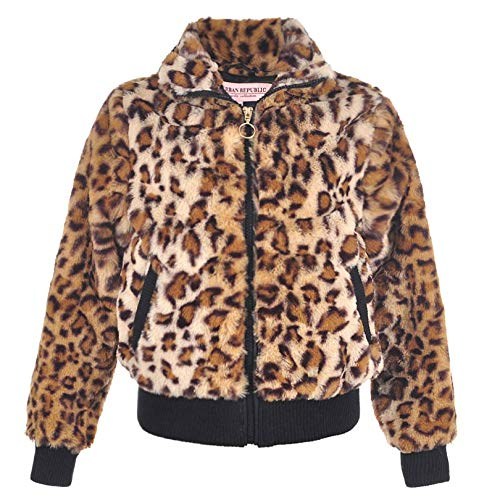 Urban Republic Little Girls Tan Leopard Pattern Plush Soft Zippered Jacket 5-6 (Urban Leopard)