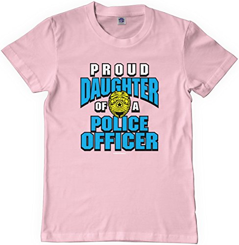 Threadrock Big Girls' Proud Daughter of a Police Officer Youth T-Shirt XS Pink (Girls Police Outfit)