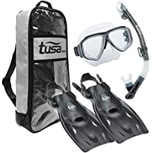 TUSA Sport Adult Splendive Mask, Dry Snorkel, and Fins Travel Set