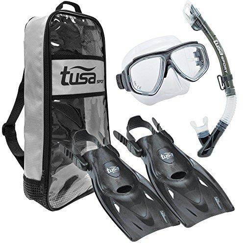 TUSA Sport Adult Splendive Mask, Dry Snorkel, and Fins Travel Set, Large, Black