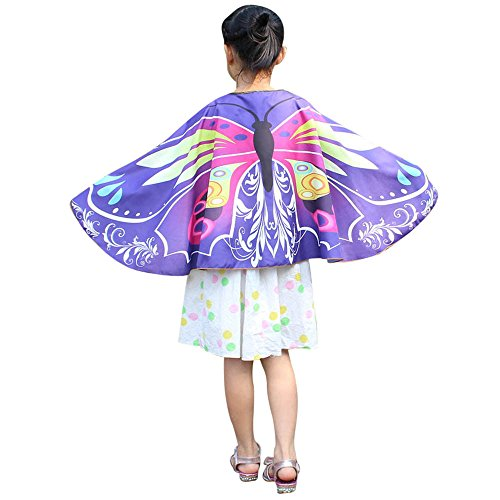 vermers Child Kids Shawl Wraps Boys Girls Bohemian Butterfly Print Shawl Pashmina Costume Accessory Wraps(Pruple)