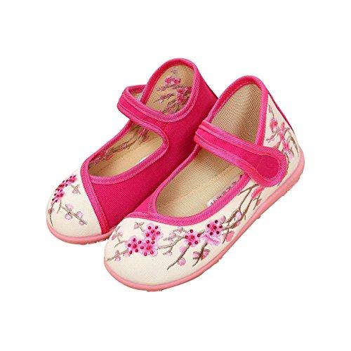 KVbaby Mädchen Mary Jane Gestickte Blume Halbschuhe Anti-Rutsch Weiches Sole Prinzessin Schuhe Baby Ballerina Taufschuhe Pink