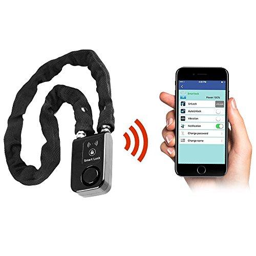 Wsdcam Keyless Bluetooth Bike/Motorcycle/Gate Lock IP44 Splash-proof Smart Bicycle Chain Lock with 110db Alarm, 0.38