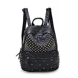 2017 Women Rivet PU Leather Backpack Women Fashion Backpacks for Teenage Girls Ladies Bags Black Satchel Bags Bolsa Feminina (ฺBlack Color)