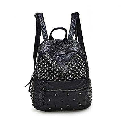 b678cbf385 Amazon.com   2017 Women Rivet PU Leather Backpack Women Fashion Backpacks  for Teenage Girls Ladies Bags Black Satchel Bags Bolsa Feminina (ฺBlack  Color) ...