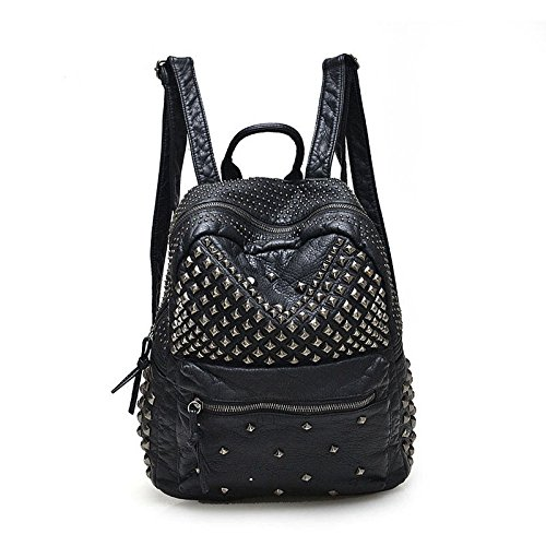 2017 Women Rivet PU Leather Backpack Women Fashion Backpacks for Teenage Girls Ladies Bags Black Satchel Bags Bolsa Feminina (ฺBlack - Blue With Kors Michael Face Gold