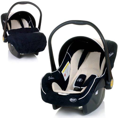 Babyschale DELUXE Autositz Babytrage + Fußsack & Sonnendach (SCHWARZ / BEIGE)