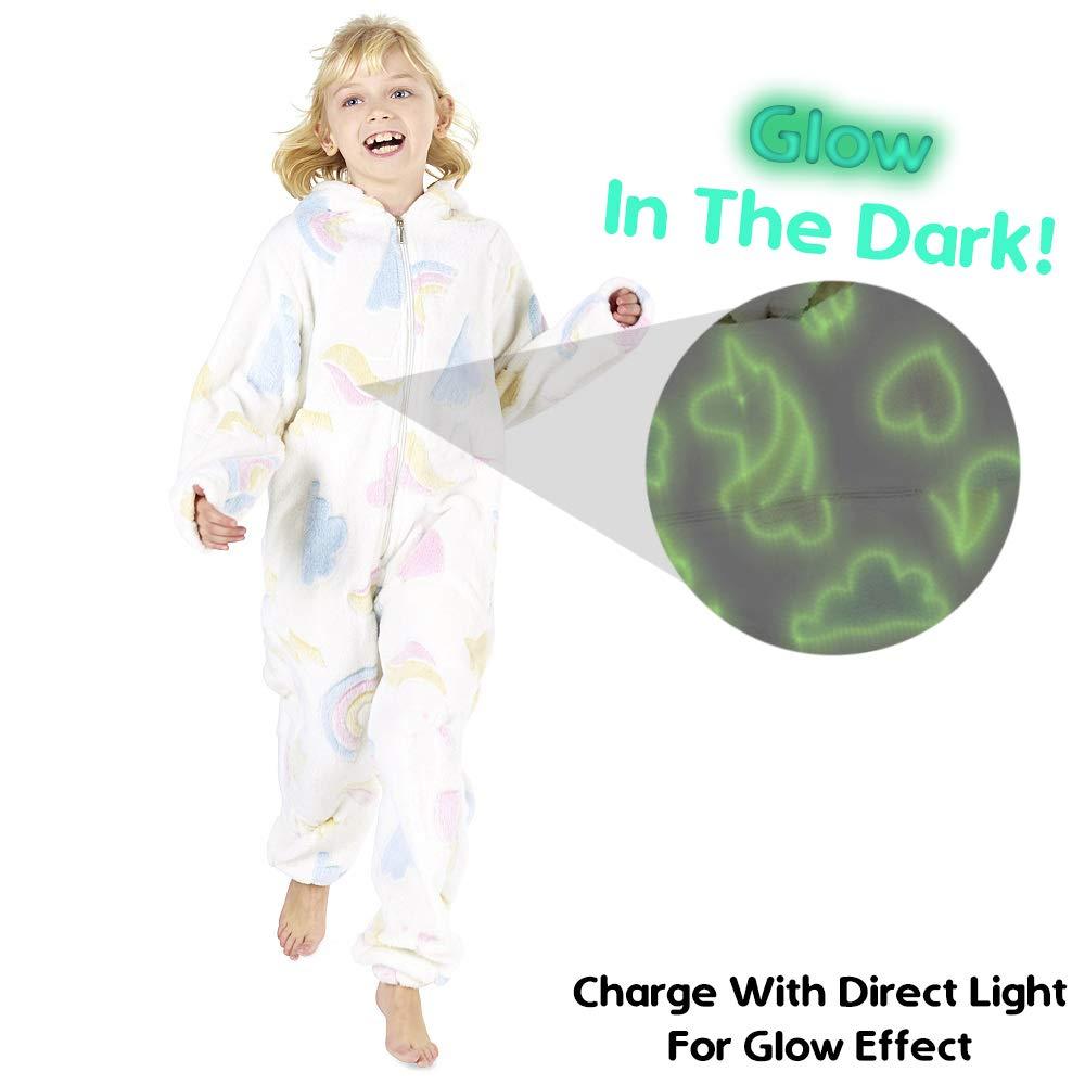 938f14326bd04 CityComfort Combinaison Pyjama Enfant Fille Onesie Licorne S Allume dans Le Noir  Arc en Ciel Grenouillere Rose Blanc Violet 3-14 Ans (3-4 Ans