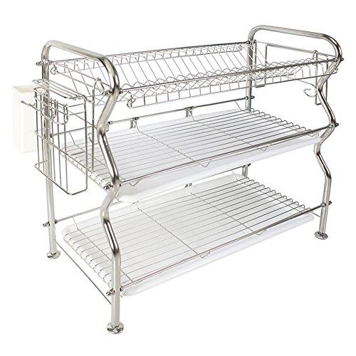 NEX Dish Rack 3-Tier Stainless Steel Dish Drainer Rack304-2