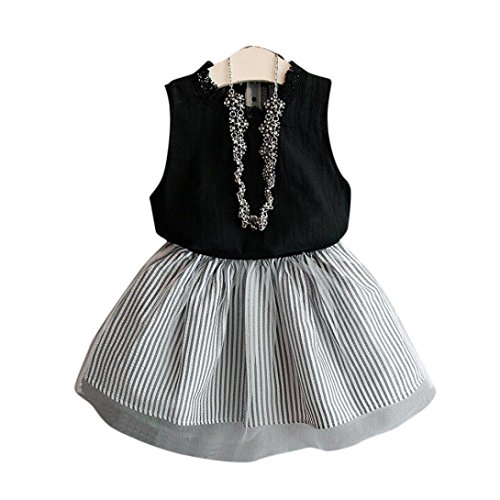 Hatoys 2PCS Baby Kids Girl Clothing Sleeveless Blouse Top T-Shirt+Stripe Short Skirt Clothes Outfits Set (2/3T, Black) (Red Sox Dress)