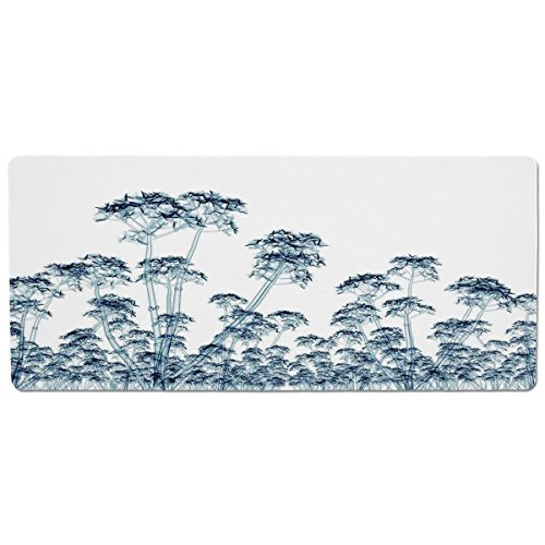 Pet Mat for Food and Water,Xray Flower,X ray Photo of a Tropical Forest Exotic Trees Plants Nature Negative Art Print,Teal White,Rectangle Non-Slip Rubber Mat for Dogs and Cats