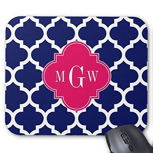 Navy And White Moroccan Quatrefoil Pattern Monogram Mouse Pad High Quality Mouse Pad Desktop Mousepad Laptop Mousepads Comfortable Computer Mouse Mat Cute Gaming Mouse Pad Buy Online In Pakistan Poppy Love