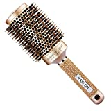 VASLON Professional Salon Round Barrel Hair Brush with Boar Bristle For Blow Drying, Curling & Straightening, Nano Thermal Ceramic & Ionic Brush(3.3 inch)