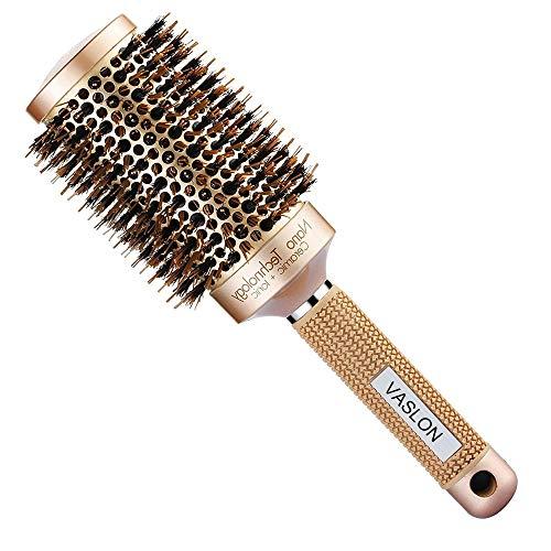 VASLON Professional Salon Round Barrel Hair Brush with Boar Bristle For Blow Drying, Curling & Straightening, Nano Thermal Ceramic & Ionic Brush(3.3 inch)