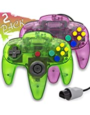 Wired Controller for Nintendo 64 N64 Console, Upgraded Joystick Classic Video Game Gamepad(Clear Green and Clear Purple,Pack of 2)