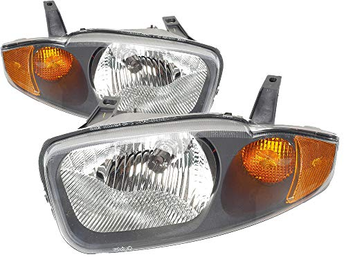 For 2003 2004 2005 Chevrolet Chevy Cavalier Headlight Headlamp Assembly Driver Left and Passenger Right Side Pair Set Replacement GM2502221 GM2503221