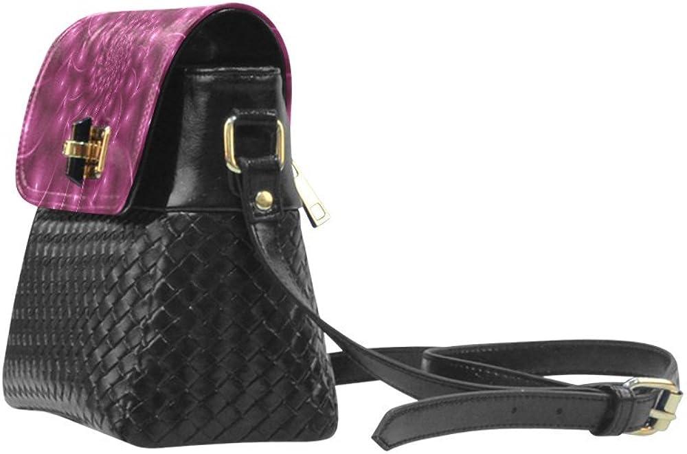 InterestPrint Design Glossy Berry Purple Fractal Spiral Maya Flap Over Woven Shoulder Bag