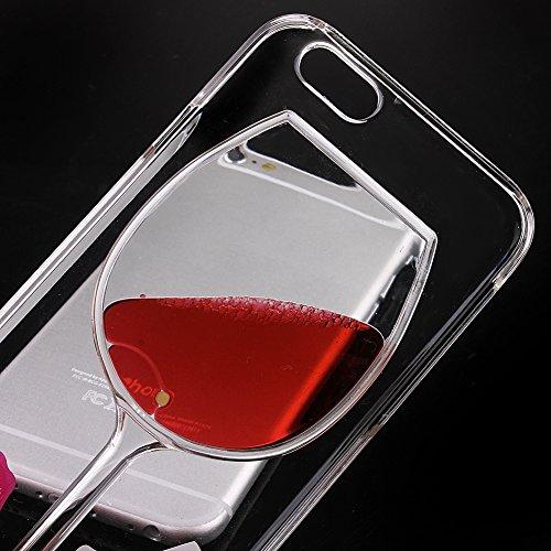"""Cas de iPhone 6 plus,iPhone 6 plus 5.5"""" Coque,Kakashop iPhone 6 plus 5.5 Pouce Amusant Creative 3D Dual Layer plastique dur Mode Clair Design Verre de Vin Rouge Coule Rouge Liquide Armure Defender Hou"""