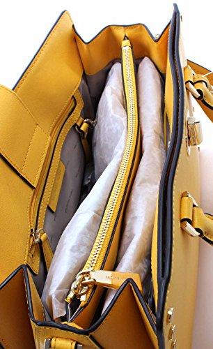 MICHAEL Michael Kors Sylvie Large Studded Leather Satchel in Sunflower
