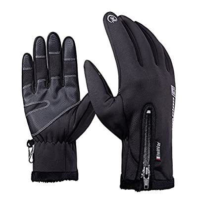 AOAKY Cycling Gloves, Touch Screen Waterproof Outdoor Skiing Running Hiking Motorcycle Glove for Men Women Black 3 Size