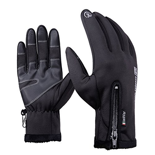 AOAKY Cycling Gloves, Touch Screen Waterproof Outdoor Skiing Running Hiking Motorcycle Glove for Men Women Black (Medium)