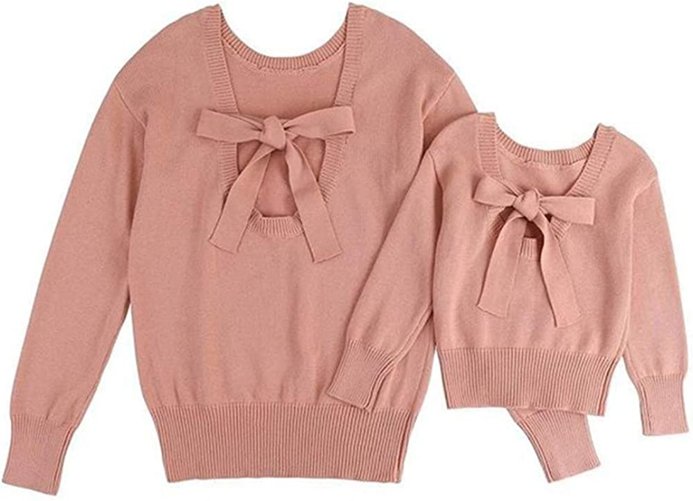Mother and Daughter Matching Clothes Fall Long Sleeve Knitted Sweater Pink Warm Family Outfit