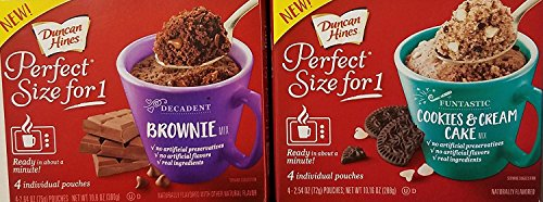 Duncan Hines Perfect Size For 1 Decadent Brownie Mix & Funtastic Cookies & Cream Cake Varity - Hines Duncan Cookie Chocolate Mix