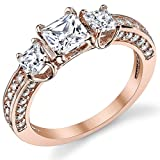 "Rose Plated Princess Cut CZ "" Past, Present, Future Sterling Silver Wedding Engagement Ring"