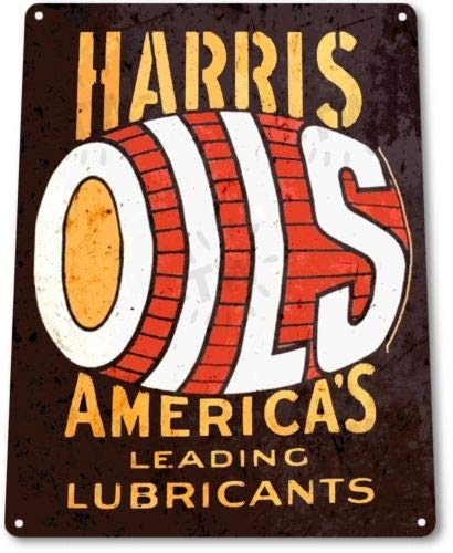 Attrayant TIN Sign Harris Oils Lubricants Gas Oil Garage Auto Rustic Metal Decor