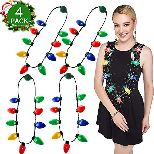- JenWin Christmas Light Up Necklaces for Kids Parties Adults 45 LEDs 6 Flashing Modes 4 Colors Glow Bulbs Necklace String Lights for Home Party Supplies Christmas Tree Decoration (4P Necklace)
