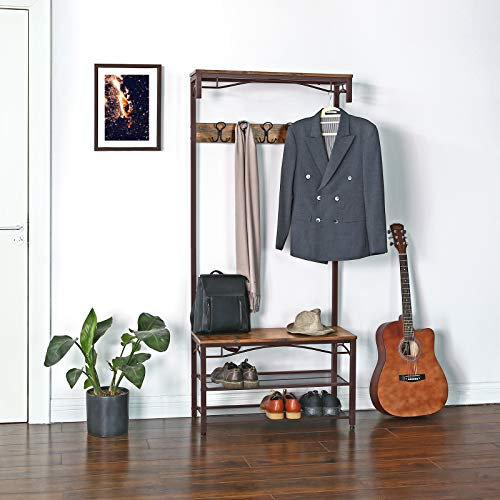 VASAGLE Industrial Coat Rack, 3-in-1 Hall Tree, Entryway Shoe Bench Accent Furniture Metal Frame Large Size UHSR45AX, Rustic Brown