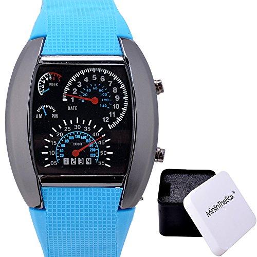Unisex Sports Watch Speedometer Style LED Digital Calendar Wrist Watch Cool Watch Unique Watch Fashion Watch (Light Blue) (Calendar Digital Wrist Watch)