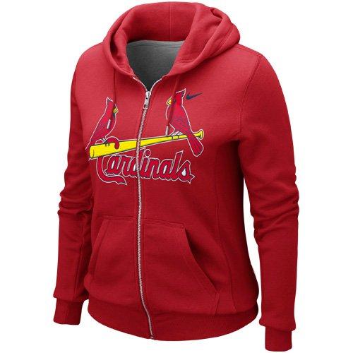 NIKE St. Louis Cardinals Ladies Classic Full Zip Hoodie - Red (Small)
