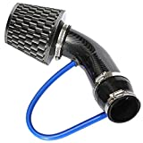 Partol 3' Universal Cold Air Intake Pipe Kit Aluminium Automotive Air Intake Air Filter Induction Flow Hose Pipe Kit - Black