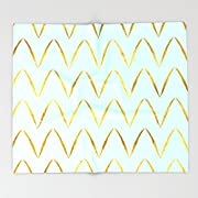 Society6 Mint Gold Foil 05 Throw Blankets 68  x 80  Blanket