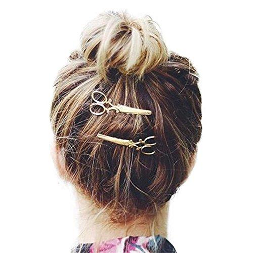 Udpbuy®2 Pcs Cool Creative Gold Scissors Shears Clip Head Jewelry Hair Pin For Hair Tiara Barrettes Accessories Headdress For Girl Women (Cool Hair Accessories)