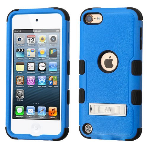 Apple iPod Touch 5th 6th Generation Gen 5 Case - Wydan (TM) TUFF Kickstand Impact Hybrid Hard Gel Shockproof Case Cover For Apple iPod Touch 5th Generation Gen 5 - Blue on Black