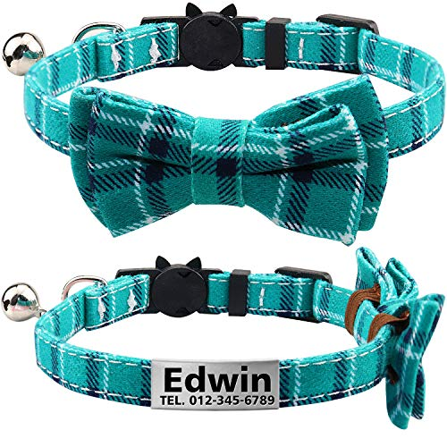TagME Personalized Breakaway Cat Collar with Cute Bow Tie & Bell, Stainless Steel Slide-on Pet ID Tag Engraved with Name & Phone Numbers,Turquoise