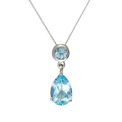 Ivy Gems 9ct White Gold Blue Topaz Tear Drop Earrings 9danD