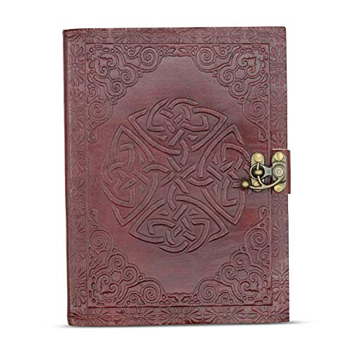 CELTIC KNOT LEATHER JOURNAL Handmade Genuine Leather-Bound Rustic Antique Writing Notebook Travel Diary Unlined Paper 6x8 by Culture ()