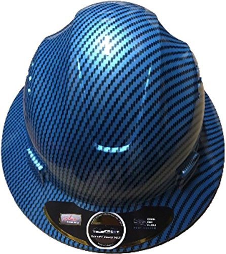 HDPE-Hydro Dipped Blue Full Brim Fiberglass Hard Hat with Fas trac Suspension HDPE Hydro