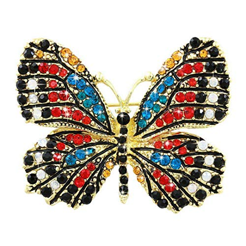 XZML Beautiful Multi Color Crystal Rhinestones Pave Butterfly Pins and Brooches for Women in Assorted Colors 4