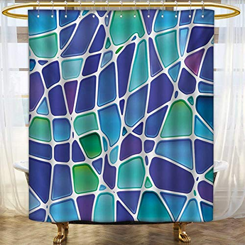 Price comparison product image lacencn Fractal, Shower Curtains with Shower Hooks, Ceramic Mosaic Style Forms Trippy Abstract Vivid Figures Display, Bathroom Set with Hooks, Purple Jade Green Royal Blue, SizeW108 x L72 inch