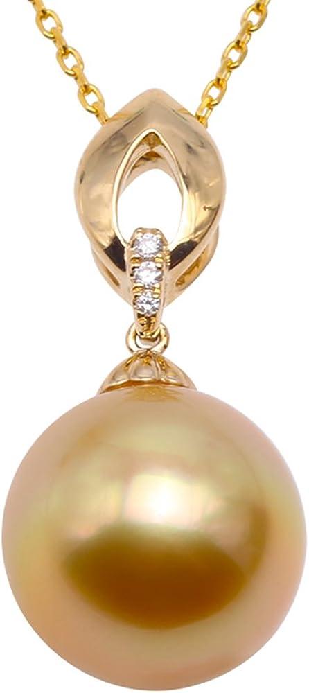 jyx 18K amarillo oro 12mm perla cultivada SouthSea collar con colgante de oro y diamantes