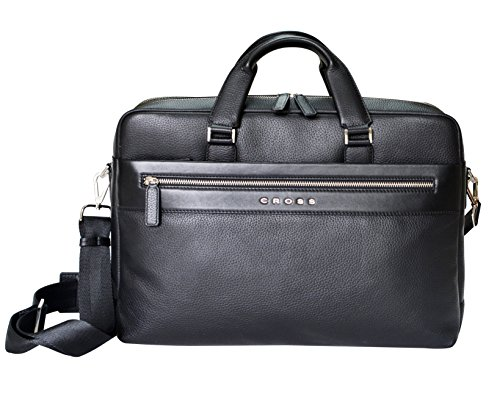 Cross Men's Genuine Leather Briefcase / Laptop / Office / Weekender Bag (Black) (Belt Gucci Men Replica)