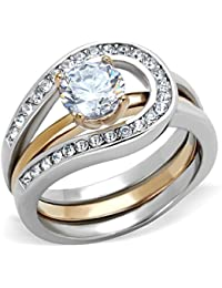 1ct round cut two toned stainless steel 2 piece wedding ring set womens sz 5 10 - Stainless Steel Wedding Ring Sets